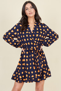 Navy Neon Abstract Spot Print Ruffle Wrap Dress with Skirt