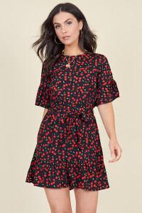 Black Cherry Print Ruffle Hem Waist Belted Mini Dress