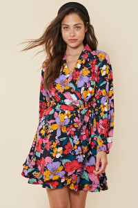 Multi Retro Floral Print Ruffle Wrap Dress with Skirt