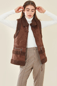 Faux Teddy & Suede Oversized Aviator Gilet