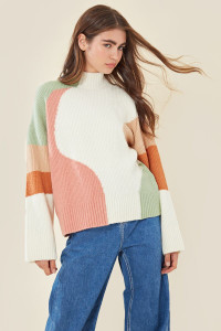 Tonal Oversized Colour Block Jumper