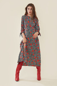 Harper Heart Midi Dress With Thigh Split