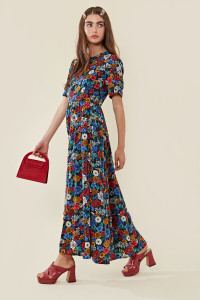 Floral Maxi Balloon Sleeve Tea Dress