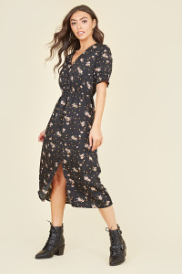 Button Front Shirred Cuff Elasticated Waist Split Midi Dress In Ditsy Floral Polkadot
