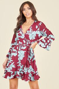 Flared Sleeve Ruffle Hem Wrap Front Mini Dress In Burgundy Blue Large Floral Print