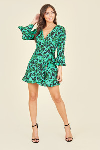 Flared Sleeve Ruffle Hem Wrap Front Mini Dress In Green Animal Print