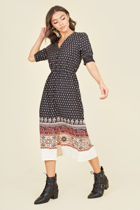 Button Front Shirred Cuff Elasticated Waist Split Midi Dress In Paisley Scarf Print