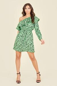 Ruffle One Shoulder Elasticated Waist Mini Dress In Green Animal Print