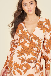 Balloon Sleeve Button Wrap Midi Dress In Blush & Rust Large Floral Print