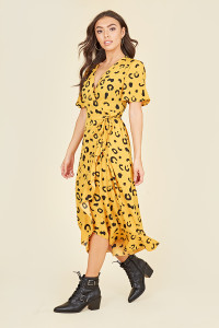 Flutter Short Sleeve Ruffle Hem Wrap Midi Dress in Yellow Abstract Animal Print