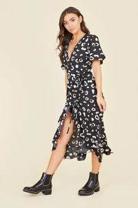 Flutter Short Sleeve Ruffle Hem Wrap Midi Dress In Black Abstract Animal Print