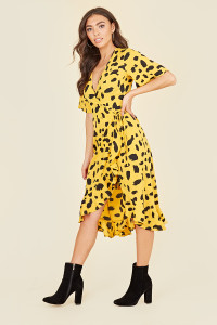 Flutter Short Sleeve Ruffle Hem Wrap Midi Dress In Yellow Abstract Print