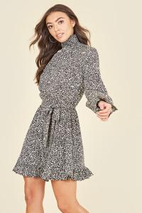 Shirred High Neck & Cuff Ruffle Hem Long Sleeve Belted Mini Dress in Micro Animal Print