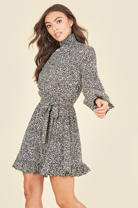 Shirred High Neck & Cuff Ruffle Hem Long Sleeve Belted Mini Dress in Micro Animal Print
