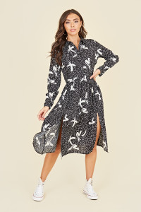 Split Front Long Sleeve Midi Shirt Dress In Abstract Brushstroke Print