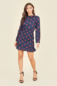 Shirred Skirt Ruffle Hem Long Sleeve Mini Dress In Navy Red Large Polkadot