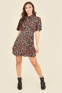Short Flutter Sleeve Tie Neck Skater Mini Dress In Ditsy Strawberry Heart Print