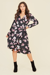 Balloon Long Sleeve Ruffle Hem Wrap Midi Dress In Pink And Black Floral Print