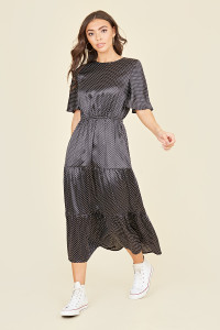 Short Flutter Sleeve Tiered Midi Dress In Black And White Polkadot
