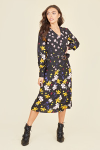 Button Front Long Sleeve Belted Horn Buckle Midi Dress In Multi Floral