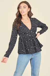Black White Star Peplum Hem Self Fabric Covered Button Long Sleeve Tea Top