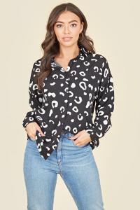Black White Splodge Oversized Shirt