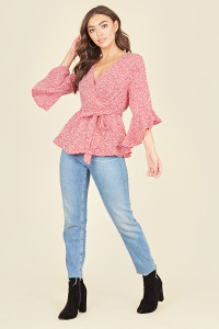 Red White Mini Scattered Spot Frill Sleeve Wrap Top