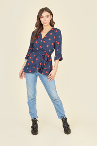 Navy Red Large Spot 3/4 Length Sleeve Wrap Top