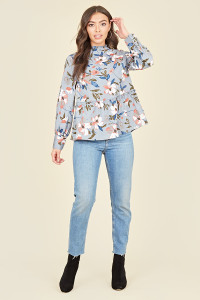 Dusty Blue Large Floral Ruffle Neck Long Sleeve Smock Top