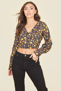 Black Mustard Floral Long Sleeve Button Through Tea Top