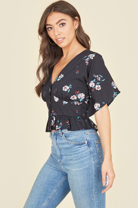 Black Blue Floral Angel Sleeve Peplum Hem Tea Top
