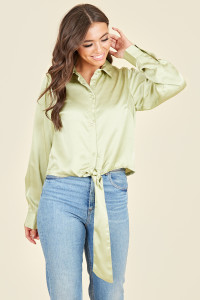 Sage Green Satin Long Sleeve Shirt With Tie Front
