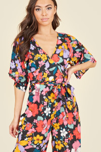Black Multi Retro Floral Kimono Sleeve Wrap Culotte Jumpsuit