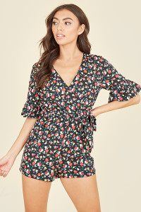 3/4 Length Sleeve Ruffle Cuff Wrap Front Playsuit In Multi Floral Print
