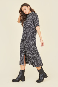 Black White Stencil Heart Oversized Button Through Midi Shirt Dress