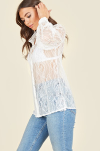 White Lace Satin Detail Oversized Shirt