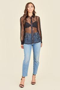 Black Lace Satin Detail Oversized Shirt