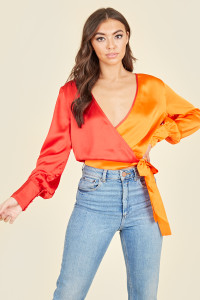 Red Orange Contrast Colour Long Sleeve Wrap Cropped Top
