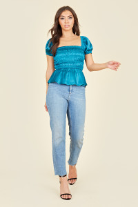Teal Satin Milkmaid Ruched Panel Top With Peplum Hem