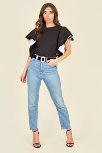 Black Cotton Poplin Double Ruffle Sleeve Top  With White Contrast Detailing