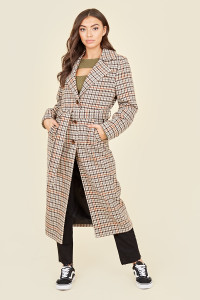 Brown Houndstooth Belted Tortoise Shell Button Trench Coat