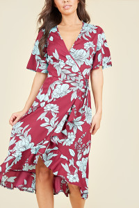 Flutter Short Sleeve Ruffle Hem Wrap Midi Dress In Burgundy Blue Large Floral