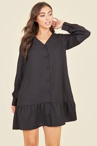 Button Front Ruffle Hem Long Sleeve V-Neck Mini Dress In Black
