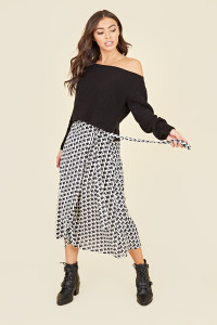 Black White Houndstooth Wrap Belted Midi Skirt