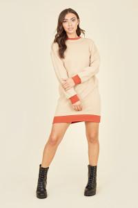 Beige & Rust Contrast Mini Sweater Dress