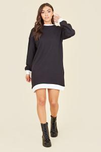 Black & White Contrast Mini Sweater Dress