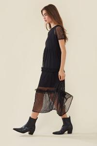 Tiered Mesh Midi Ruffle Dress