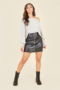 Black Croc Pu Mini Skirt