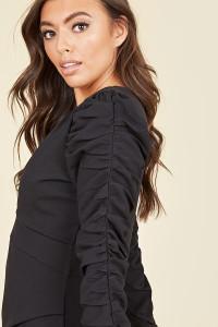 Black Crepe Ruched Sleeve Plunge Mini Dress