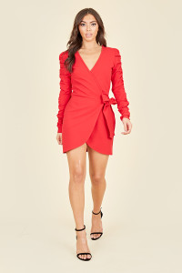 Red Crepe Ruched Sleeve Wrap Mini Bodycon Dress